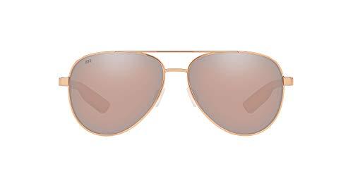 Costa Del Mar Men's Peli Aviator Sunglasses, Shiny Rose Gold/Copper Silver Mirrored Polarized 580G, 57 mm