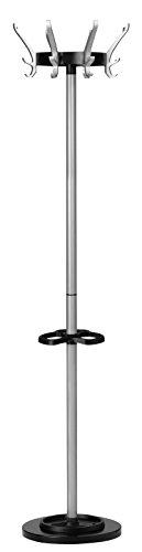 UNILUX Garderobenständer Cypres mit höhenverstellbarem Schirmständer grau 170 cm - Kleiderständer Mantelständer Garderobe