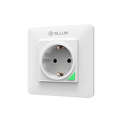 Enchufe de pared Wi-Fi inteligente Tellur, compatible con Amazon Alexa & Google Assistant, 3000 W, 16 A, blanco