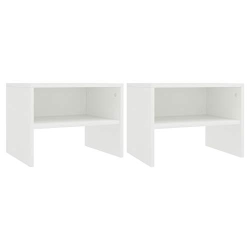 vidaXL 2X Nachttisch mit offenem Fach Nachtschrank Beistelltisch Telefontisch Couchtisch Nachtkommode Nachtkonsole Weiß 40x30x30cm Spanplatte