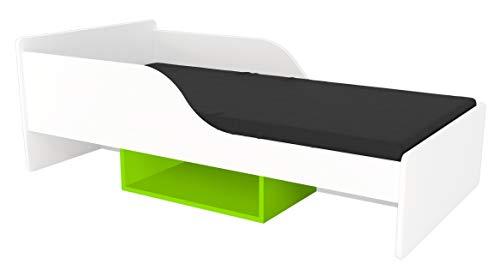 Clamaro 'Smile' Kinderbett Jugendbett 160x80 mit Rausfallschutz (beidseitig), Regal unterm Bett und Kantenschutzleisten, Bett Set inkl. Lattenrost und Matratze - Weiß/Grün