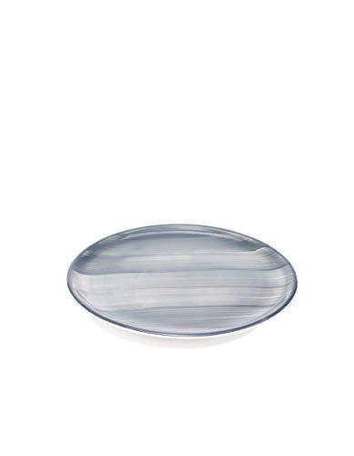 Zafferano Striche - Porzellanteller, Durchmesser 270 mm, Farbe Grau, spülmaschinengeeignet bis 60° - Set 6-teilig
