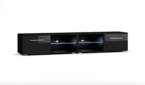 VIVALDI Mobile porta TV - MOON 2 DOUBLE - 200 cm - Nero Opaco / Nero Lucido con illuminazione a LED blu - Stile Design