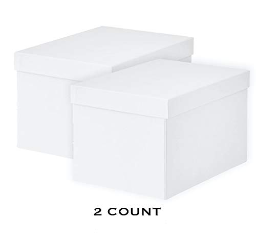 IKEA TJENA Foldable Storage Box with Lid/Office, Storage, Supplies, Organization, Small Parts (2, 7 x 9.75 x 6 White)
