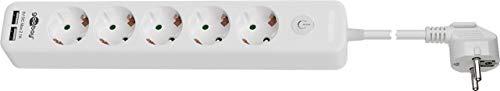 Goobay 41265 5-voudige stekkerdoos met IO-schakelaar, kinderbeveiliging en 2 USB-poorten voor het aansluiten van maximaal vijf elektrische apparaten en twee USB-apparaten