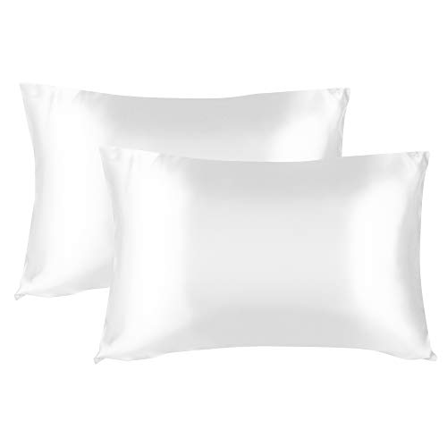 """Satin Pillow Cases - White King Size 20""""x 40"""" Pack of 2 Pillow Covers Soft and Cozy for Hair and Skin with Envelope Closure Breathable Cooling Pillows Luxury Satin Cases for Men and Women"""
