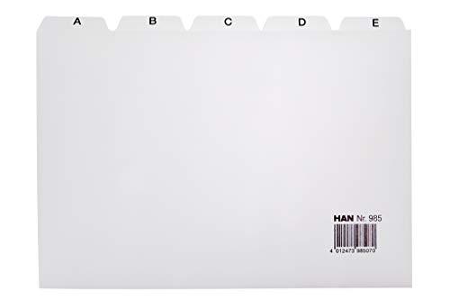 Han 985 - Separadores con índice alfabético (para ficheros, tamaño A5, polipropileno), color gris