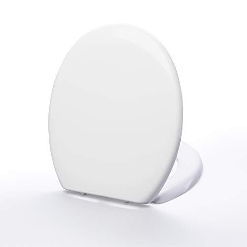 FOUBISS WC Sitz Weiss mit Absenkautomatik und Quick Release Funktion aus Duroplast -Toilettendeckel oval - abnehmbar - antibakterieller Klodeckel mit rostfreien Edelstahl Schanieren