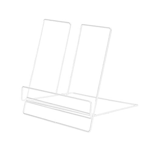zhongbao Soporte para revistas multifunción geométrico de hierro forjado estante de almacenamiento para tableta, libros, organizador de revistas (color: blanco)