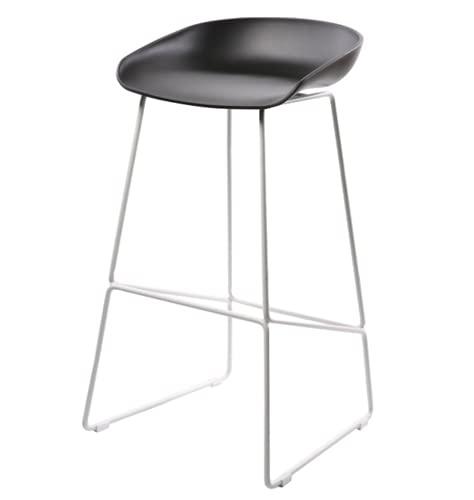 QWEZXCMI Sgabelli da Bar in Metallo 2 pz, Sgabelli Alti ABS Plastic Seat Nordic Sedia da Bar Industriale nordica con Gambe in Metallo per Cafe Ristorante Cucina,Black 1,65cm