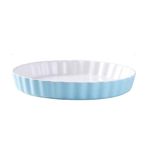 YUNLILI Placa de Pizza de cerámica con Pizza sin Palanca Bandeja para Hornear Queso Horno Bandeado Bandeado Pan horneado Microondas para Hornear Plato Molde (Color : Blue, Size : 26 * 4cm)