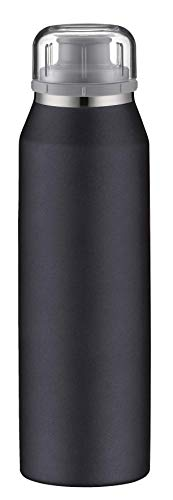 alfi isoBottle Isolier-Trinkflasche, Thermoflasche, Isolierflasche, Real Pure Schwarz, 0,5 Liter