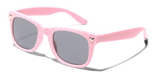 ShadyVEU Gafas de sol con diseño de corazón retro, color blanco con lunares y lentes UV400, Light Pink Frame Black Polka Dots / Smoke Lens, Small