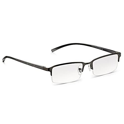 Gafas de Lectura READ OPTICS: Presbicia de Hombre+1,50/+2/+2,5/+3/+3,5 Dioptrías y Lentes Transparentes Resistentes con Antireflejos. Gris Opaco. Media Montura Clásica de Acero con Bisagras de Resorte