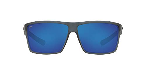 Costa Del Mar Men's Rincon Polarized Rectangular Sunglasses, Matte Smoke Crystal/Grey Blue Mirrored Polarized-580P, 63 mm