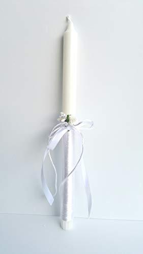 Vela bautizo unisex de cera blanca, vela primera comunion,decorada con lazo color blanco y flor 35 cm.