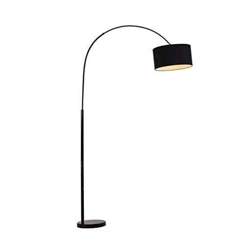FWZJ Lámpara de pie LED Moderna Lámpara de Piso Curva clásica Lámpara de Tela Negra Lámparas de Piso con Base de mármol para Sala de Estar Dormitorio (Color: Negro, Tamaño: Botón pulsador)