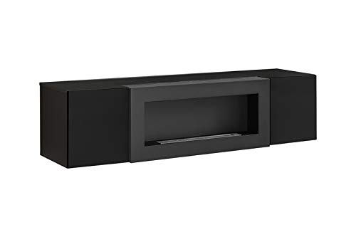 ASM FLY SBK TV-Möbel mit Kamin, 160 cm breit, Push-Click-Türen, Hochglanz, Schwarz