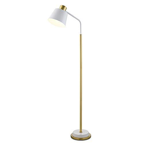 Lampadaire moderne en métal minimaliste, lampe de bureau fini cuivre - E27, abat-jour réglable design lampe de table chambre salon (Couleur : Blanc)