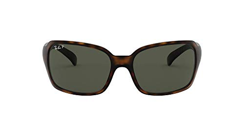 Ray-Ban Damen Rb 4068 Sonnenbrille, Braun (Matte Havana/Green Polarized), One size (60)
