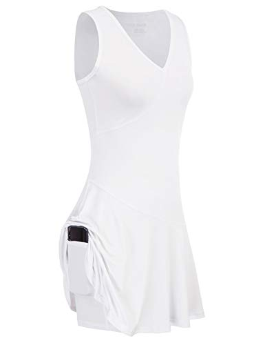 JACK SMITH Women Golf Dress with Shorts Sleeveless Exercise Workout Dress with Pockets for Sports White S