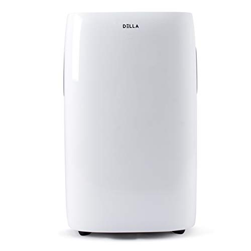 DELLA 14000 BTU Portable Air Conditioner 157 Pint Dehumidifier Fan Self Evaporating System Quiet Rooms up to 700 sq ft LCD Display Remote Window Kit Wheels White