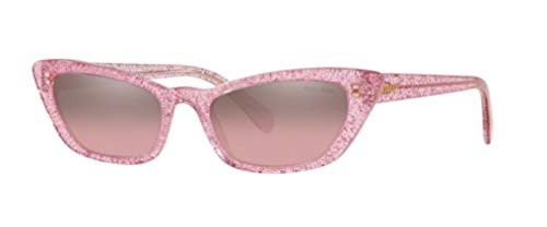 miu miu 0MU 10US Occhiali, Glitter Pink/Pink Mirror Silver Gradient, 53 Donna