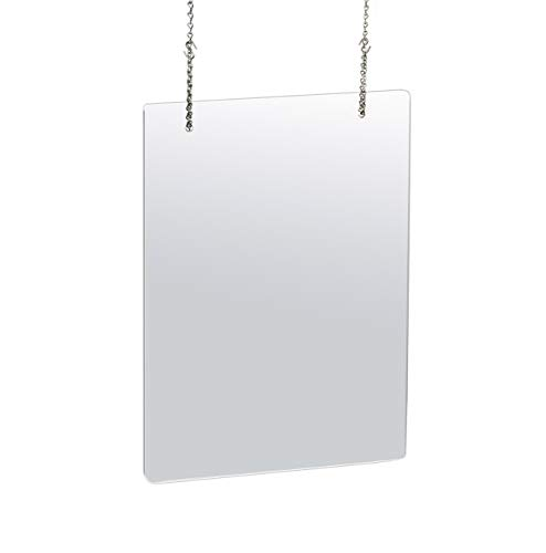 Azar Displays 23.5 in. x 31.5in. Clear Hanging Adjustable Cashier Sheild, Sneeze Guard, Acrylic Protective Barrier -Vertical/Horizontal (pack of 2)