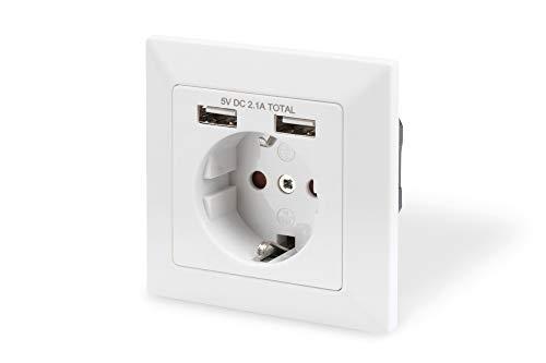 DIGITUS Unterputz-Steckdose mit USB-A Ladegerät - 2 Buchsen - 5V / 2,1A Gesamt - 250V 50Hz - Reinweiß RAL 9003