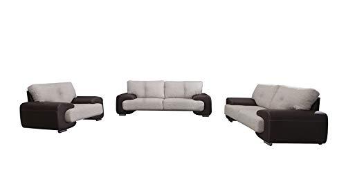 mb-moebel Polstergarnitur Sofa Set 3er & 2er & Sessel 3-2-1 Wohnlandschaft 3-Sitzer und 2-Sitzer Möbel Set - LORENTO (Braun)