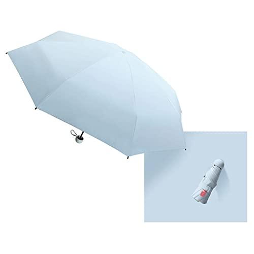 HOTRA Cápsula Sun Umbrella Lady, Sun Protection Y UV Protección Viajes Umbrella Dual Uso Mini Plegable Ultra-Ligero, Compacto Y Portátil, Fuerte UPF50 + (Color : Blue)