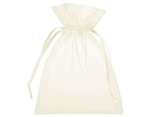 10 Organzabeutel, Organzasäckchen Unifarben, Größe 30x20 cm, mit Satinband zum Zuziehen - die ideale Geschenkverpackung, Schmuckbeutel, Produktpräsentation, Dekoration (Creme)