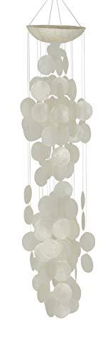 Deco 79 33121 Zeitgenössisches Capiz-Windspiel, 12,7 x 68,6 cm, Weiß