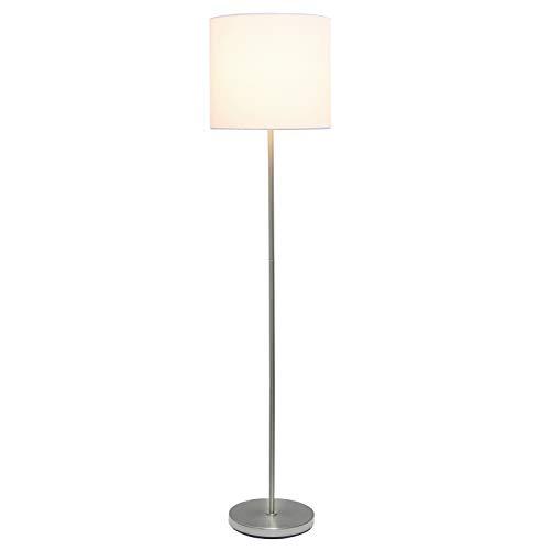 Simple Designs LF2004-WHT Brushed Nickel Drum Shade Floor Lamp, White