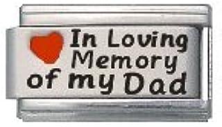 in Loving Memory of My Dad Enamel Red Heart Laser Italian Charm