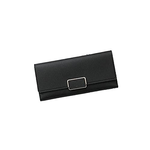 FEINENGSHUAInsqb Bolso Monedero, Billetera para Mujer, compacta y Conveniente, fácil de almacenar, Gran Capacidad, Doble Plegable (Color : Black)