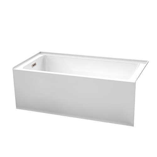 Grayley 60 x 30 Inch Alcove Bathtub in White with Left-Hand Drain and Overflow Trim in Brushed Nickel