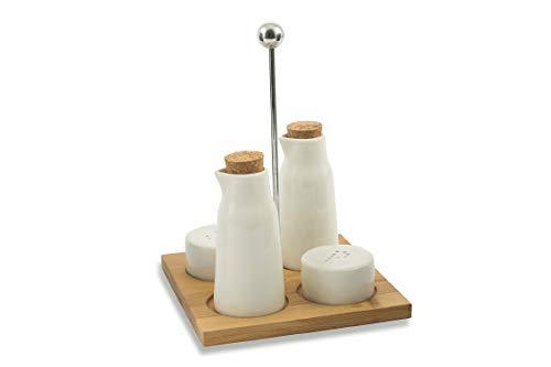 Villa d\'Este Home Tivoli 2420995 Gourmet Manage con Stand Bamboo, Porcellana, Bianco