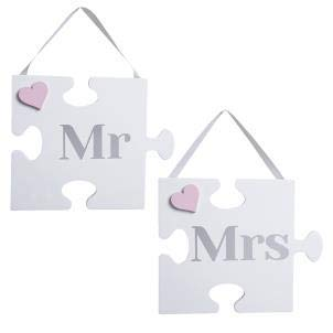 Transomnia Targa da Parete a Forma di Puzzle Mr e Mrs.