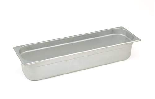 Pentole Agnelli Bassine Gastronorm 2/4, Acier Inoxydable 16.2x53x6.5 cm