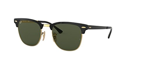 Ray-Ban RB3716 CLUBMASTER METAL 187 51M Gold Top On Black/Green Sunglasses For Men For Women