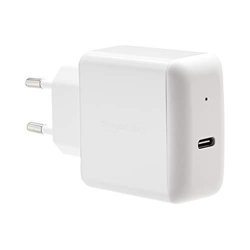 Amazon Basics Cargador para pared USB de tipo C 3.0, 30W, 1 puerto, EU/blanco