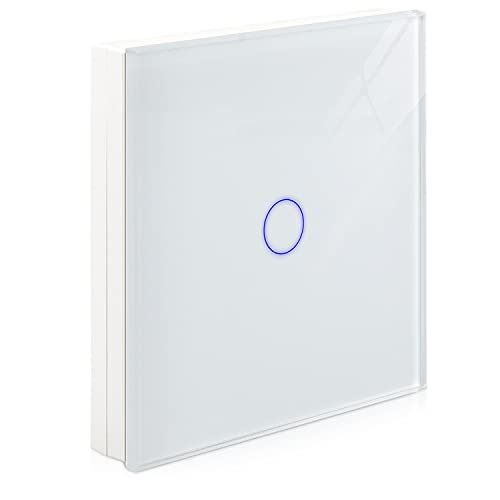 Navaris Funk Touch Lichtschalter - 1x Sender Montagematerial - Licht Funkschalter Wandschalter innen außen - Touchschalter Wechselschalter Weiß