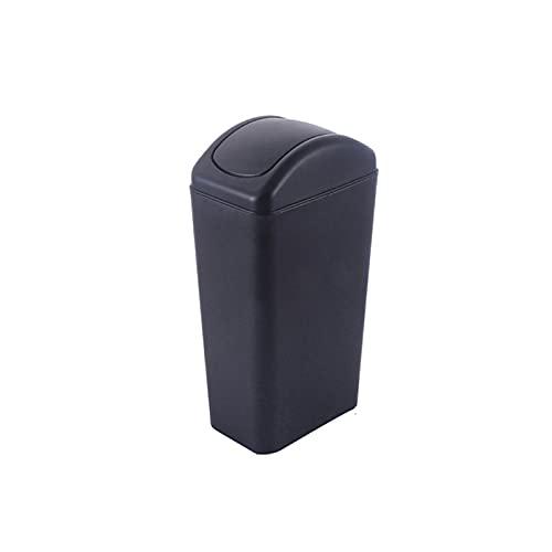Oikupe Bote de Basura doméstico con Tapa Bote de Basura Simple y Compacto Bote de Basura Cesto de Basura para Sala de Estar Dormitorio Cocina Oficina,Negro