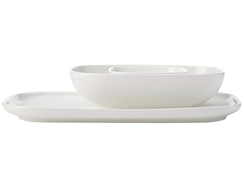 Maxwell & Williams White Basics - Plato rectangular con cuencos para servir y platos de tapas, porcelana, color blanco, 3 piezas