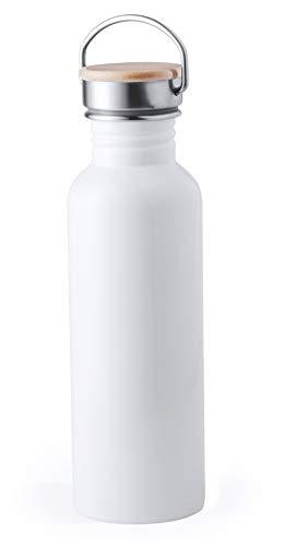 MKTOSASA - Botella Reutilizable Bebidas Estilo Retro de 800ml. Cuerpo en Acero Inoxidable, Tapón de Seguridad a Rosca en Madera y Asa de Transporte. Presentada en Caja de Diseño - 7.2x24.2x7.2