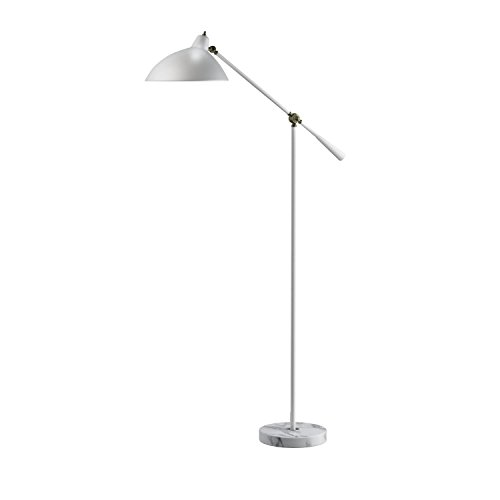 Adesso Home 3169-02 Contemporary Modern One Light Floor Lamp from Peggy Collection in Two-Tone Finish, 27.50 inches, Antique Brass/White