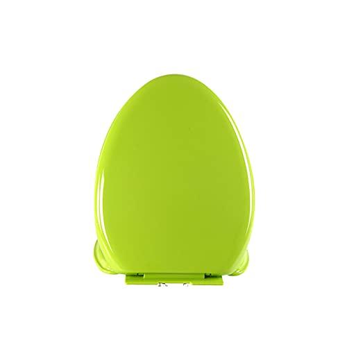CYYS Asiento de Inodoro en Forma de U Verde con Tapa, Adecuado para Inodoro en Forma de U estándar, Tapa de Inodoro Cerrado silencioso, Tapa de Inodoro Universal