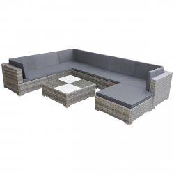 vidaXL 24piezas Jardín sofá conjunto poli ratán gris