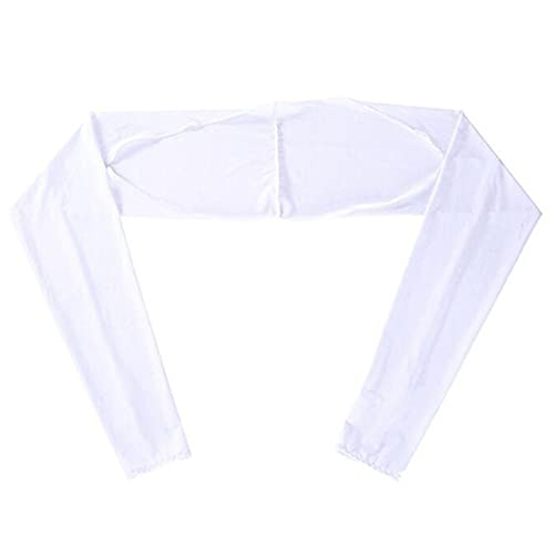 ASZX Summer Outdoor Activity Women Ice Silk Shawl Cuff Gloves Golf Shawl Sleeves Sunscreen Sleeves UV Protection Clothing 901 (Color : White, Size : One Size)